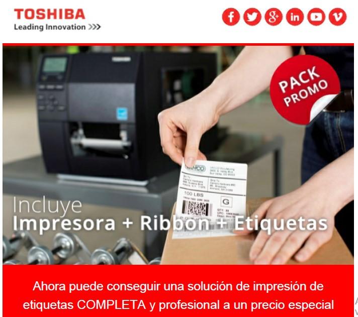 PROMO Pack Impresora Toshiba+Ribbon+Etiquetas con 70% dcto