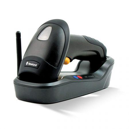 HR1580-BT-C 1D CCD Lector inalámbrico Bluetooth (superficie negra) con soporte / estación de acoplamiento, cable USB y adaptador de enchufe múltiple (Wahoo)