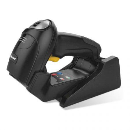 HR5280RT-BT-C Lector de mano inalámbrico Bonito Bluetooth CMOS 2D Mega Pixel, versión comercial, DotCode habilitado (superficie negra) con soporte / estación de acoplamiento, cable USB y adaptador de enchufe múltiple