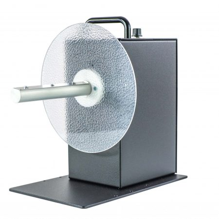 Rebobinador CAT-3-1-INCH, para núcleos de 25,4mm, maneja etiquetas de hasta 155mm de ancho y puede bobinar un rollo de etiquetas con un diámetro de hasta 220mm