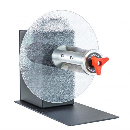 Rebobinador CAT-3-CHUCK maneja etiquetas de hasta 170, 220 o 270 mm de ancho y puede bobinar un rollo de etiquetas con un diámetro de hasta 300 mm